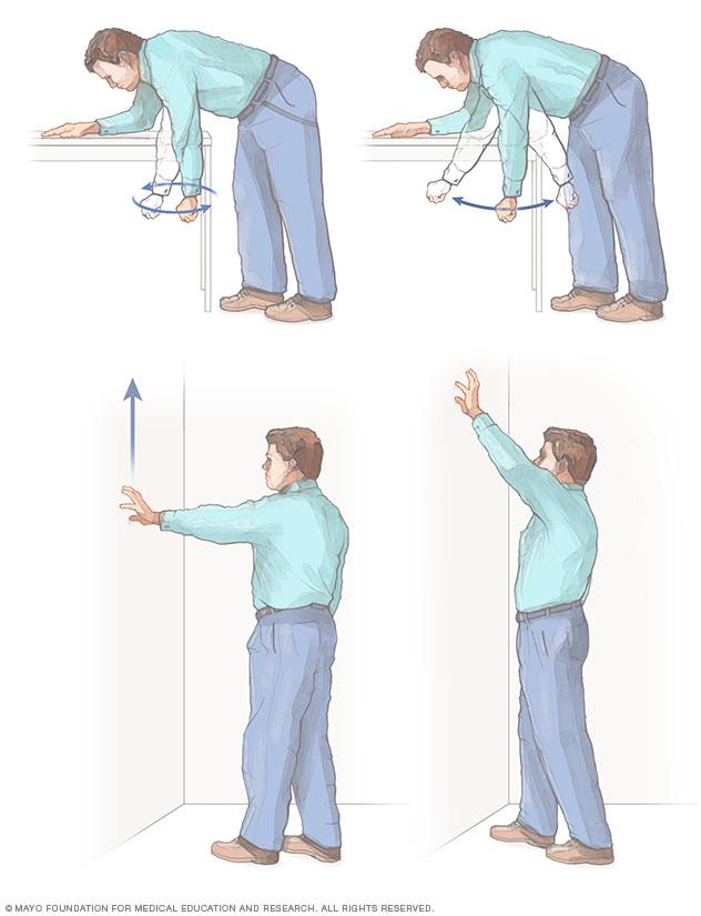 Illustration showing shoulder exercises