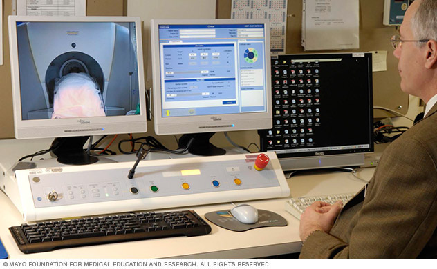 Computer monitors during the procedure.